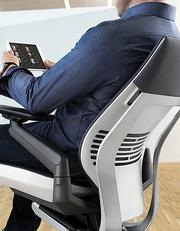 Steelcase's Gesture chair, due out this fall, moves with the body as an individual changes positions to use different devices.