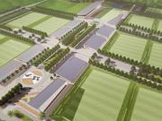 This rendering shows several of Gateway Sports Village's synthetic turf fields, which are surrounded by space for restaurants, retail and hotels.
