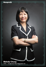 Melody Chung has been helping steer the youth programs at Southwest Key Programs Inc. since 1998. In that time, she has worked her way up from a financial accounting manager to a controller to her current position as chief financial officer, which she has held since 2001. Chung plays an integral role in overseeing all financial operations for Southwest Key Programs, a nonprofit that has positively impacted the lives of at-risk youth and their families for more than 25 years.