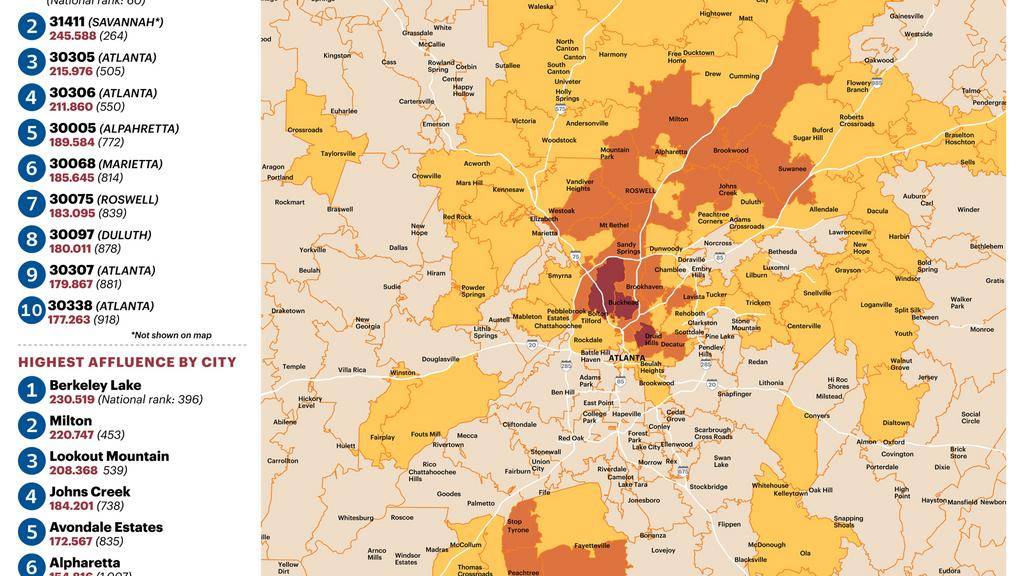 Map Of Georgia Zip Codes.Zip Code 30327 Epicenter Of Atlanta Affluence Slideshow