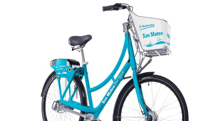 A rendering of a bicycle from San Mateo's pilot bike-sharing program, which is scheduled to launch in May 2016.