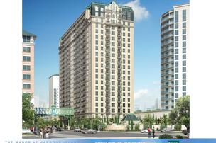 Manor at Harbour Island, a 21-story apartment tower, is under construction.