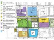 This map illustrates the future phases of development planned around First Ward Park by Levine Properties.