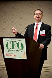 "Boston Business Journal editor George Donnelly introduced the panelists at the CFO Awards luncheon. The topic was ""The CFO as a Catalyst for Change: The Evolving Role of Finance as Leaders in Innovation."""