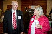 Perhaps sharing company acronyms during the networking portion of the Boston Business Journal's CFO Awards luncheon were Jack McCullough of KPMG and Karebn Edlund of FEL.
