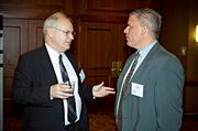 BlumShaprio's Pat Connolly and Jim Clarkson catch up during the networking portion of the Boston Business Journal's CFO Awards luncheon.