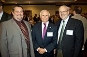 Presenting a united front at the Boston Business Journal's CFO Awards luncheon were from left: Thomas Muldoon of Alexander Avonson Finning CPA's, Al Faber of Alan Faber Growth Strategies and Greg Starr of Accounting Management Solutions.