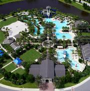 An aerial view showing the pools and other amenities at Nocatee.