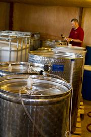 Vats of wine at Eldchrist Winery.