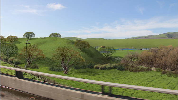 A rendering of the Sargent Quarry site as seen from Highway 101, showing a large berm that would shield the view of the quarry's operations.