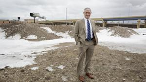 Marquette University president Mike Lovell at the future site of the athletic performance research center