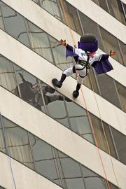 Even Buddy Bat, mascot of the Louisville Bats baseball team, took park in the Over the Edge event.