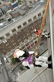 Mrs. and Mr. Chikin rappelled from the Hyatt.