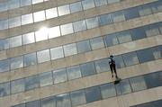 A volunteer also rappelled from the Hyatt during the Over the Edge event, which started Thursday and will continue Friday. Click here to read more about the event.