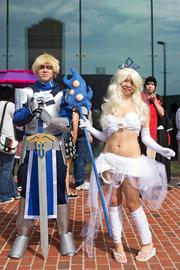 John Kelly (left) and Courtney Chan have attended three Otakon conventions. This year, Kelly came dressed as Saber from Fate Stay Night, and Chan wore a Janna costume, a character from League of Legends.