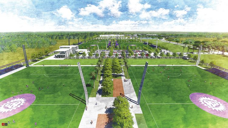 Rendering of the planned Orlando City Soccer Club training complex in Lake Nona.