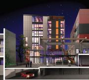 The design for the courtyard and the east facade of a proposed building at 1424 11th Ave. in Seattle. The view is from the back of La Spiga restaurant in Dunn's Piston & Ring Building on 12th Avenue.