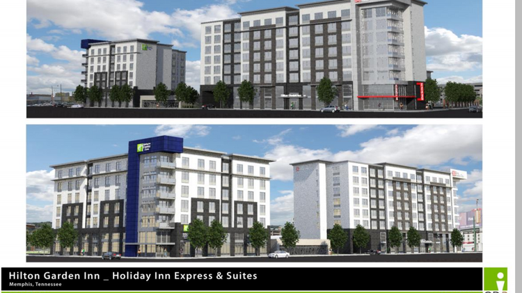 nitinkumar patel is proposing two hotels side by side across from autozone park - Hilton Garden Inn Memphis