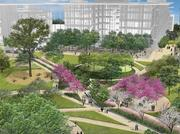 A rendering of a quad on Exxon Mobil Corp.'s new corporate campus in Springwoods Village.
