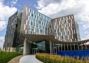 The exterior window patterns of Cerner's campus represent digitized images of human DNA.