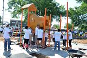 In June, Humana employees joined with others to build a playground in the California neighborhood of West Louisville.