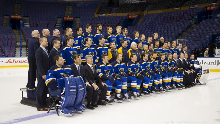 Players And Coaches Pose During The St Louis Blues Team Photo At Scottrade Center