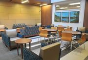 A seating area on the fourth floor, which includes a 24-bed post-partum unit, a newborn nursery, and two outpatient lactation rooms.