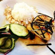 Black miso cod,ginger buerre blanc, sweet soy drizzle, cucumber salad