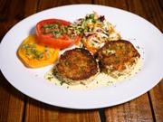 Crab cakes from The Spillover, which will serve a full menu of seafood items.