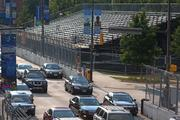 Grandstands and steel fences line the Grand Prix of Baltimore race course.