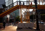 Another shot of a temporary pedestrian bridge, this one sits along Pratt Street near the Hilton Baltimore.