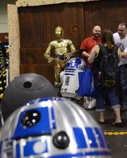 Many droids, that everyone was looking for, were stationed at the Rebel Legion costume club exhibitor area.