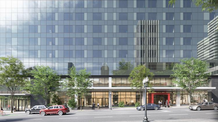 Radisson RED, a 180-room hotel, will occupy the first eight stories of the 19-story Broadway Tower at Southwest Broadway and Columbia.