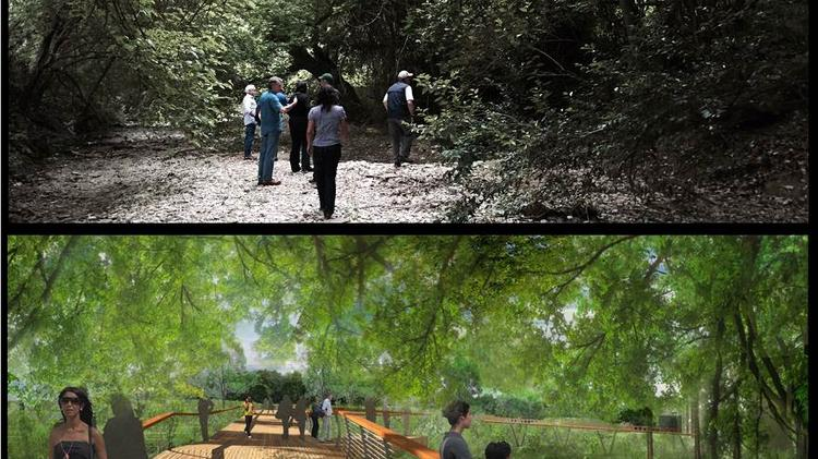 The plan, still developing, also envisions an elevated walkway snaking above Bouldin Creek on the property of the Texas School for the Deaf.
