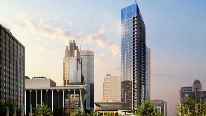United Properties proposed 35-story tower on Nicollet Mall and Third Street. The developer is in negotiations with Toronto-based Four Seasons Hotels and Resorts about possibly anchoring the project.