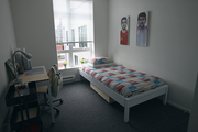 A bedroom at ArtHouse, which opens to students Wednesday.