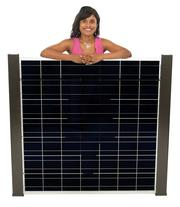 2013 PSBJ 40 under 40 honoree Savitha Reddy Pathi, Development Director, of Climate Solutions with a Silicon Energy solar module.