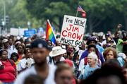 Tens of thousands of people were expected to attend the anniversary events of the March on Washington.