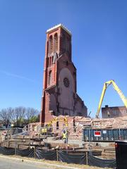 A scene of the St. Patrick's demolition in May. The Watervliet, NY, church was demolished to make way for a Price Chopper supermarket and other development.