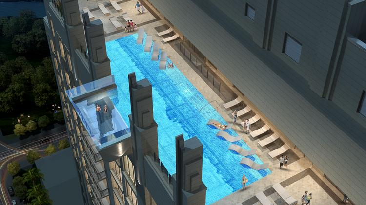 A Rendering Of The Rooftop Cantilevered Pool At Market Square Tower 40 Story