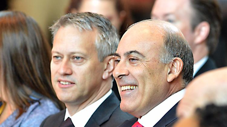 The Coca-Cola Co COO James Quincey, left, with Coca-Cola Chairman and CEO Muhtar Kent.