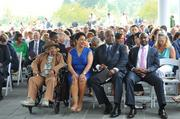 Sheila Johnson sitting with her family during the ceremony.