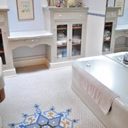 The Reed family's River Road home features historic tile and built-in storage in the bathroom.