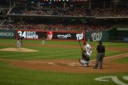 Nationals superstar Bryce Harper at bat, just before hitting the first home run of the Thursday night game against the Marlins. The Nats won 9-0.