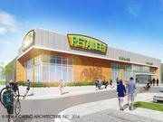 A rendering of the corner store space for the Fresh Thyme grocery store at 84South in Greenfield