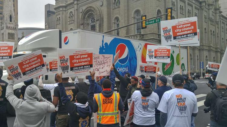 In a file photo, teamsters are shown protesting the Philadelphia Beverage Tax, before it went into effect.