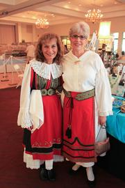 Greek dancers will begin Friday evening, including Vicky Constautinidis-Gaedikes, left, in a costume from Kozani and Jan Teter, right.
