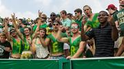 Body paint was the fashion statement for some Charlotte 49ers fans.  The 49ers beat the Campbell Fighting Camels 52-7 in their inaugural football game at Jerry Richardson Stadium, on Aug. 31, 2013.