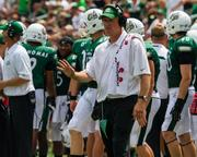 Charlotte 49ers coach Brad Lambert. The 49ers beat the Campbell Fighting Camels 52-7 in their inaugural football game at Jerry Richardson Stadium, on Aug. 31, 2013.