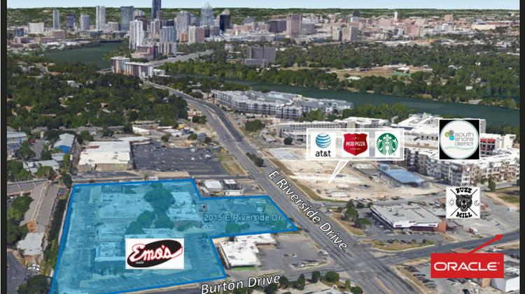 Presidium Group, which was founded in North Texas but has an active Austin office, continues its assault of the East Riverside Drive area with a purchase of a retail center shown in blue.
